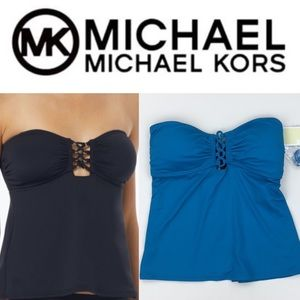 Michael Kors Open Back Lace Up Bandeau Tankini NWT
